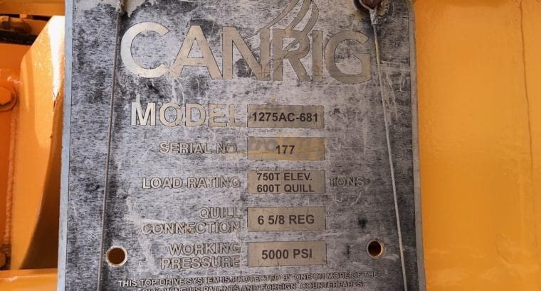 Canrig 1275 top drive with VFD house